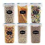 Robernet 1.6L Vorratsdosen Set, BPA frei Müsli Schüttdose Frischhaltedosen, Kunststoff Vorratsdosen luftdicht, Müslidosen, 12 Etiketten für Getreide, Mehl, Zucker usw (Blau)