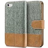 BEZ Hülle für iPhone SE Hülle, Handyhülle Kompatibel für iPhone SE 5 5S Hülle, Handytasche Schutzhülle Tasche [Stoff und PU Leder] mit Kreditkartenhaltern - Grau