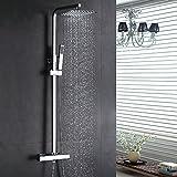 Homelody Thermostat Duschsystem Regendusche Eckig Duscharmatur Duschset Duschsäule mit 304 Edelstahl Kopfbrause, chrom