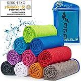 Cooling Towel für Sport & Fitness – Mikrofaser Handtuch/Kühltuch als kühlendes Handtuch für Laufen, Trekking, Reise & Yoga – Cooling Towel – Farbe: blau-dunkel Blauer Rand, Größe: 100x30cm