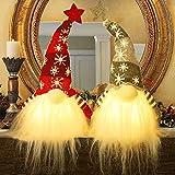 Husang Beleuchteter Weihnachtswichtel, Weihnachtsmann, beleuchtet, Elfe, Spielzeug, Weihnachtsgeschenk, batteriebetrieben, Winter-Tischdekoration, 2 Sets (38,1 cm)