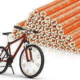 EKKONG Speichenreflektoren 48 Stück,Speichen Reflektor Warnstreifen Fahrradspeichen für Clips Geeignet für alle gängigen Speichenräder (Orange)