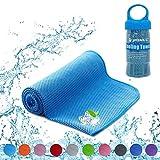 YQXCC Kühltücher Eishandtuch 120 x 30 cm Gym Mikrofaser Handtuch für Männer oder Frauen Eiskalte Handtücher für Yoga Gym Reisen Camping Golf Fußball & Outdoor Sport (Blau)