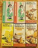 Räucherkerzen SET 'Mixed' 6 Packungen a 24 Stück/Pkg. - Echt India-Grün mit Tannenduft sowie Weihrauch/Sandel, Lemon, Caffé Latte, Lebkuchen, Zimt