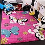 Paco Home Kinder Teppich Schmetterling Design Grün Grau Schwarz Creme Pink, Grösse:80x150 cm