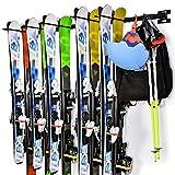 Ikkle Ski-Halterung für Ski, Wandbefestigung, abnehmbar und Flexible Montage, für 10 Paar Ski, Snowboard, Besen für die Aufbewahrung von Haus, Garage, Schwarz