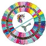 JOZEA Stickerei Kreuzstich Set Stickgarn Einhorn und Meerjungfrau 106 Nähgarne Stickerei Basteln Crafts Floss Set Multicolor für Kreuzstich Basteln Freundschaftsbänder Nähgarne Häkeln