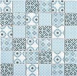 Mosaikfliese Keramik blau retro vintage viktorianisch ornament WC Wandverkleidung Küchenrückwand Küchenfliese Wandfliese Küche