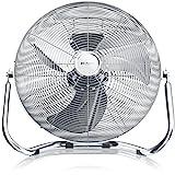 Brandson - Windmaschine Retro Stil 120 Watt - Ventilator in Chrom - Standventilator 45 cm - Bodenventilator - hoher Luftdurchsatz - stufenlos neigbarer Ventilatorkopf - Silber
