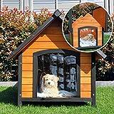zooprinz wetterfeste Hundehütte Balu- aus massivem Holz und Dach zum Öffnen - perfekt für draußen - mit umweltfreundlicher Farbe gestrichen - 2 Größen zur Wahl (L)
