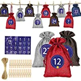 Adventskalender zum Befüllen, 1-24 Adventszahlen Aufkleber, 24 Stoffsäckchen set, Weihnachten Geschenksäckchen mit 24 Holzklammern und Hanfseil, DIY Deco Weihnachtskalender Bastelset für Männer Kinder
