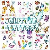 Qpout Glitzer Temporäre Tattoos für Kinder, Cartoon Reh Fee Schmetterling Biene Temporäre Tätowierung Tiere Zoo Kindertattoos für Mädchen Jungen Geburtstag Festival Party Geschenk Mitgebsel Dekoration