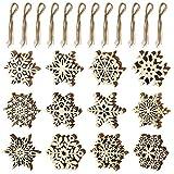 K KUMEED 60 Stück Schneeflocken aus Holz, Schneeflocke Christbaumschmuck Anhänger Weihnachten Holz Schneeflocke mit Jute Schnur für Weihnachtsschmuck, Baumschmuck, Weihnachtsdeko, Basteln (12 Designs)