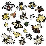 CODIRATO 20 Stück Patch Sticker Biene Patches Zum Aufbügeln, DIY Stickerei Applikationen Käfer Bügelflicken für Jeans, T-Shirt, Tasche, Kleidung und andere Textilien