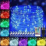 12m Bunt LED Lichtschlauch Außen, IP68 Weihnachtsbeleuchtung Außen, 120 LEDs Lichterschlauch mit Fernbedienung,16 Farben 132 Modi LED Schlauch Lichterkette Strombetrieben für Innen Outdoor Halloween