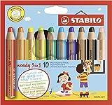 Buntstift, Wasserfarbe & Wachsmalkreide - STABILO woody 3 in 1 - 10er Pack - mit 10 verschiedenen Farben
