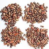 BETESSIN Ca. 400 STK kleine Holzperlen Holz Perlen zum Basteln zum Auffädeln Holzkugeln mit Loch Mini Kugeln Bastelperlen Set für Armbänder
