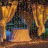OxyLED LED Lichtervorhang Aussen 3x3m,306 LED Sterne Lichterkette Vorhang,IP44 wasserdicht 8 Modi Lichterkettenvorhang für Innen Außen Partydekoration deko schlafzimmer Garten Party Hochzeit