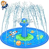 LUKAT Sprinkler Play Matte, 170cm UFO Splash Pad Wasser-Spielmatte Sommer Garten Wasserspielzeug Baby Pool Pad Spritzen für Garten Familie Party Spielzeug für Kinder Jungen und Mädchen