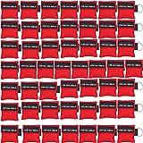 LSIKA-Z CPR Maske Schlüsselanhänger Packung mit 50 Stück Rot CPR-Maske Schlüsselbund Notfall-Kit für Erste-Hilfe- oder CPR-Training (Red-50)