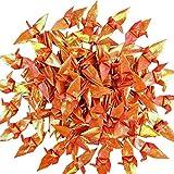 Cieovo Origami-Papier-Kraniche, Perlglanz-Orange, gefaltet, japanischer Kranich, mobile Schnur für Hochzeit, Babyparty, Party, Heimdekoration, 100 Stück