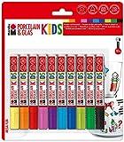 Marabu 0125000000084 - Porcelain & Glas Painter Kids, Set Mega Fun mit 10 Farben, Porzellan- und Glasmalstift für Kinder, kinderleichtes Malen, spühlmaschinenfest nach Einbrennen, Spitze 1 - 3 mm