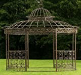 CLP Pavillon ROMANTIK aus pulverbeschichtetem Eisen I Runder Pavillon mit stilvollen Verzierungen l Bepflanzbarer Rankpavillon Bronze