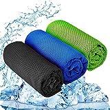 YQXCC Kühlhandtuch 3 Stück 120x30 cm Mikrofaser Handtuch für sofortige Kühlung Entlastung, kühles kaltes Handtuch für Yoga,Golf,Reisen,Sport,Camping,Fußball&Outdoor-Sport (Dunkelblau/Dunkelgrau/Grün)
