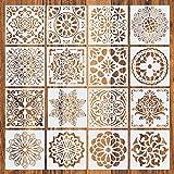 Ksruee 16pcs Mandala Schablone Malschablonen Punktierung Werkzeug, Mandala Dotting Schablonen Schablonen, für DIY Steine, Wandkunst, Leinwand, Holzmöbel Malerei