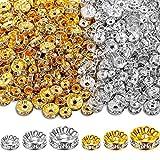 600 Stück Kristall Unterlegscheibe Abstandshalter Perlen 6 mm 8 mm 10 mm Runde Strass Charm Lose Perlen Gold Silber für Armbänder Schmuckherstellung