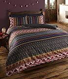 DE CAMA Luxus Indian Ethnic Print Orkney Bettwäscheset, Bettbezug Bettwäsche-Set, Polyester-, Mehrfarbig, Single.