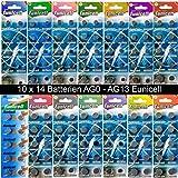 Set AG0-AG13 (14 Blistercards a 10 Batterien je AG 0,1,2,3,4,5,6,7,8,9,10,11,12,13) ; (C) ; EINWEG Eunicell