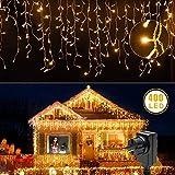 LED Lichtervorhang Warmweiß 400 Leds Lichterkette mit Fernbedienung Deko 8 Modi IP65 Wasserdicht für Weihnachten Balkon Hochzeit (LED Lichtervorhang)