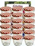 hocz Vorratsgläser-Sturzgläser Set | Menge 25 Stück | Füllmenge 230 ml | inkl. Schraubdeckel Deckelfarbe Rot Karriert 25 Etiketten NZ zum beschriften | Allrounder für Marmeladengläser
