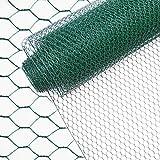 INDUTEC Sechseckgeflecht Drahtzaun Drahtgeflecht Gartenzaun Hasendraht - grün - MW: 25 mm | H: 50 cm | L: 10 m Rolle