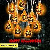 Weekend&Lifecan Halloween-Lichterketten Kürbislichter für die Innendekoration, batteriebetriebene Minikürbisse für die Halloween-Weihnachtsfestparty 20 LEDs 10f (Halloween-Warm White)