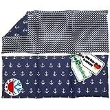 Herbalind Anker 3 Kammer großes Kirschkernkissen 50x20 cm, 900g - Handmade in Germany - Maritimes 100% Baumwolle - Wärmekissen für Mikrowelle, Nacken Schulter - Geschenk für Männer