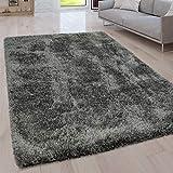 Paco Home Hochflor Wohnzimmer Teppich Waschbar Shaggy Uni In Versch. Größen u. Farben, Grösse:120x160 cm, Farbe:Grau