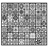 fanshiontide 56 Stück Mandala Schablone Set Wiederverwendbare Laserschnitt Malschablone/Airbrush Vorlage für Steine Wand Kunst, DIY Zeichnen Kunst Projekte