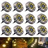Solar Bodenleuchten, 8 LED Solarleuchten Gartenbeleuchtung, Warmweiß Solarlicht Solarbodenstrahler, IP65 wasserdicht Solarlampen für Außen, Hof, Rasen, Weg, Garten 12 Stück
