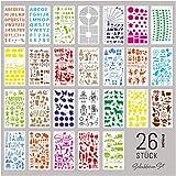 int!rend 26 Schablonen Set, aus Kunststoff, Zeichenschablonen Muster für Bullet Journal, Scrapbooking, Fotoalbum, Gästebuch, DIY Geschenkkarten, Version 2020
