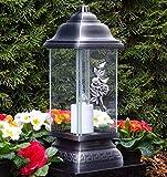 ♥ LED Grablampe Rosen Ornament Silber 34,0cm incl. LED Grabkerze Grablicht Grablaterne Grabschmuck Grableuchte Laterne Kerze Lampe Licht