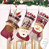 AIMTOP 3er Set Weihnachtsstrumpf, Nikolausstiefel zum Befüllen & Aufhängen, Nikolausstrumpf Weihnachtssocken Hängende Strümpfe für Weihnachtsdeko, Nikolaussocken mit 3 Metallhaken, XXL 45 cm