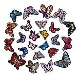 Soleebee Gemischt zufällig Patches Zubehör Aufbuegler Bügeleisen-auf oder Nähen-auf Aufnäher Applikation Applique Flicken Patches (21 Stück Schmetterling)