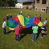 Sport-Thieme Schwungtuch Standard für Kinder, Familie, Sport | Durchmesser 4m | 12 eingenähte Handgriffe | Regenbogen bunt | Für drinnen und draußen