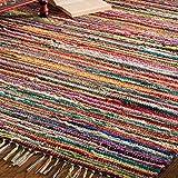 Indian Arts Fair Trade Flickenteppich, handgemacht, aus indischer 100% recycelter, bunt, Textil, Multi, 120 x 180 cm
