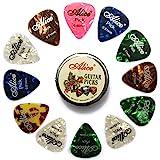 Alice 12-Stück Celluloid Gitarren plektren für Ihre E-, Akustik- und Bass-Gitarre, 3 verschiedene Stärke 0.46mm / 0.71mm / 0.81mm Plektrum Plektron mit Dose