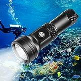 VOLADOR Tauchen Taschenlampe, 4000 Lumen Tauchlampe CREE XHP 70 Unterwasser Taschenlampe mit Knopfschalter, 3 Helligkeit 150M Unterwasser Wasserdicht Tauchtaschenlampe mit 1*26650 Akku und Ladegerät