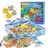 Magicfun Play Sand Set, Knetsand Playset Moulding mit Meereslebewesen Formen, Formbarer 500g natürlichen Indoor Spielsand- 12 Formen und 3D-Tablett, Kinetischer Sand Spielzeug für Kinder