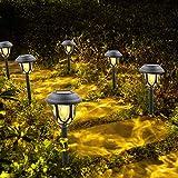 Solarleuchten Garten LED Warmweiß Solar Gartenleuchte für Außen Wasserdicht Solar Wegeleuchte Gartenleuchte Dekorative Licht für Garten Rasen Gehweg Balkon Landschaft(6 Stück)